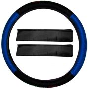 Capa de Volante Universal Tuning Type Azul com Almofada de Cinto