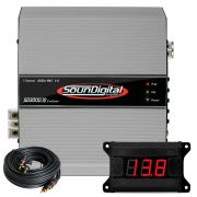 Modulo Amplificador Soundigital Evolution Sd3000.1d 3000W Rms 2ohms Com Voltimetro e Cabo Rca