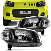 Farol Principal Fiat Novo Uno 2010 em Diante Lado Direito Máscara Cromada