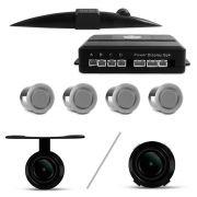 Kit Sensor de Estacionamento 4 Pontos Prata + Câmera de Ré Parachoque ou Borboleta Universal Preta s