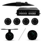 Kit Sensor de Estacionamento 4 Pontos Preto + Câmera de Ré Parachoque ou Borboleta Universal Preta s