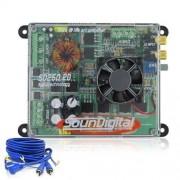 M�dulo Amplificador SounDigital SD250.2d Mini(2 canais de 125W RMS em 2ohms)   Brinde 1 Cabo RCA de
