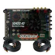 M�dulo Amplificador SounDigital SD400.4D Mini 400W Rms 2 Ohms + Cabo Rca