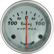 Rel�gio Amper�metro 12M Racing 0-100A 52mm 12.802 � Mostrador Branco Aro Alum�nio Luz Verde
