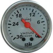 Rel�gio Vacu�metro 12M Racing Future 52mm 12.412 � Mostrador Branco Aro Alum�nio Luz Verde