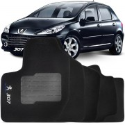 Tapete Automotivo Personalizado Carpete Peugeot 307 09 at� 12 Preto Jogo 4 pe�as