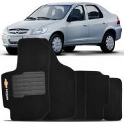 Tapete Automotivo Personalizado Carpete Chevrolet Prisma 06 até 12 Preto Jogo 4 peças