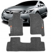Tapete Automotivo Personalizado Carpete New Civic Grafite Jogo 3 pe�as