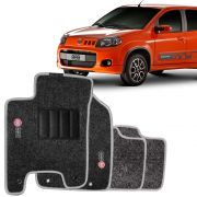 Tapete Automotivo Carpete Fiat Novo Uno 210 em diante 4 Peças Grafite