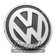 Emblema VW preto do centro de calota modelo Speed para VW Fusca, Brasília e Variant