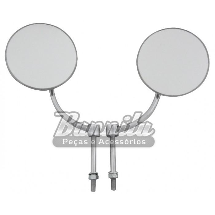 Espelho retrovisor VW Fusca Alemão Oval Split - Com prato redondo  - Bunnitu Peças e Acessórios