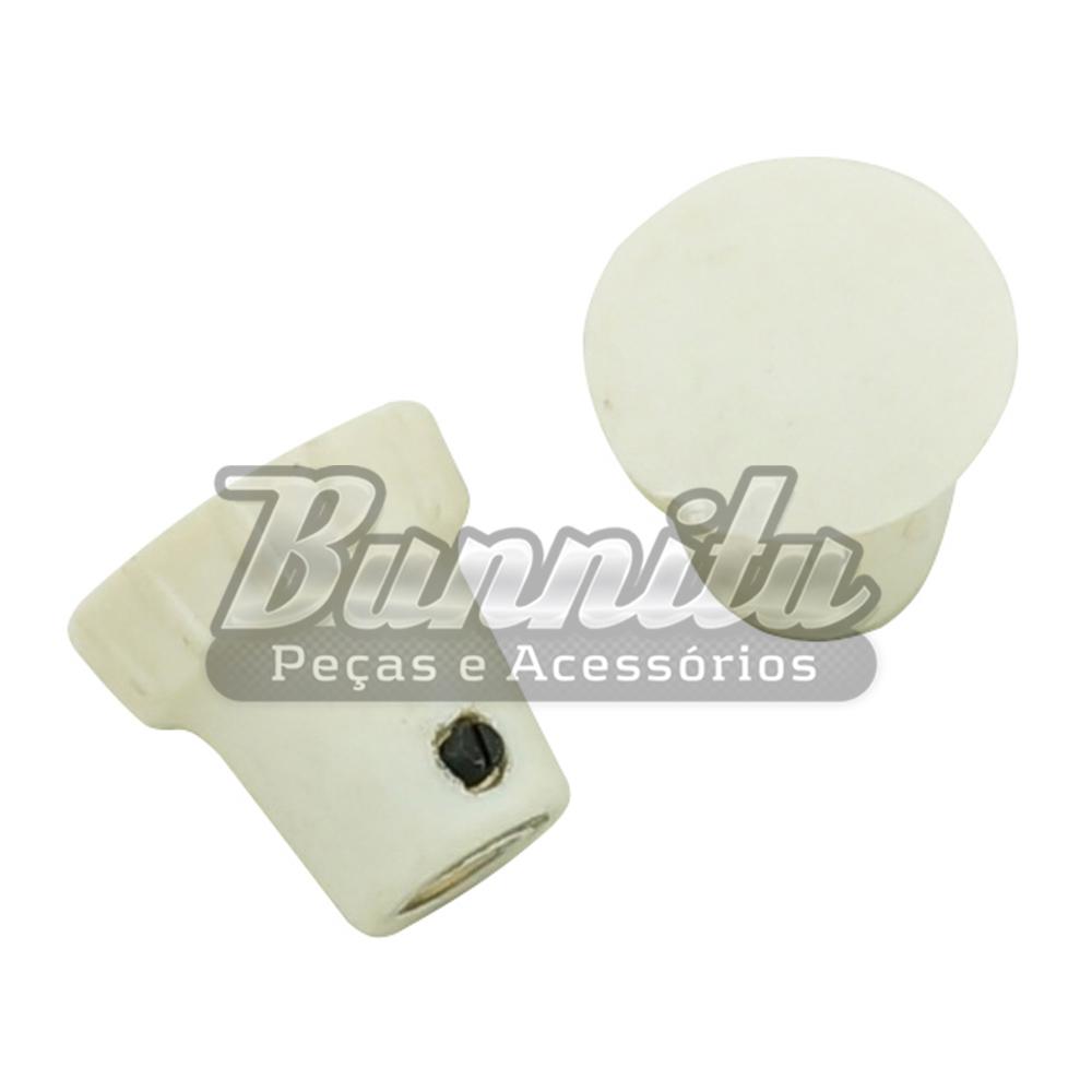 Botão do trinco da janela lateral basculante na cor marfim para VW Fusca  - Bunnitu Peças e Acessórios