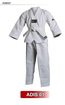 Dobok Taekwondo adidas Adistart com selo WTF - Gola Branca