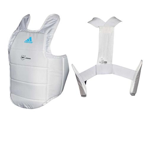 Protetor de Torax adidas Branco c/ Logo Azul - Selo WKF