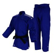 Kimono Judô adidas Club J350 Azul/Branco Trançado 350g/m2