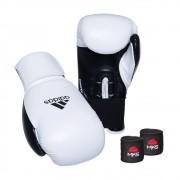 Kit Boxe Muay Thai Luva Power Colors Branco/Preto e Bandagem Preta 2,55m