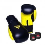 Kit Boxe Muay Thai Luva Power Colors Preto/Amarelo e Bandagem Preta 2,55m
