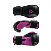 Kit Boxe Muay Thai Luva Power Colors Preto/Rosa e Bandagem Preta 2,55m
