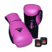 Kit Boxe Muay Thai Luva Power Colors Rosa/Preto e Bandagem Preta 2,55m