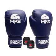 Kit Luva Boxe New Prospect Mks Combat Azul com Bandagem Preta