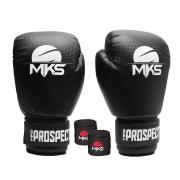 Kit Luva Boxe New Prospect Mks Combat Preta com Bandagem Preta