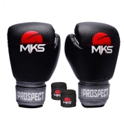 Kit Luva Boxe New Prospect Mks Combat Preta/Prata com Bandagem Preta