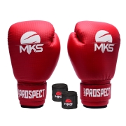 Kit Luva Boxe New Prospect Mks Combat Vermelha com Bandagem Preta