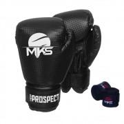 Kit Luva Boxe Prospect Mks Combat Preta com Bandagem Preta