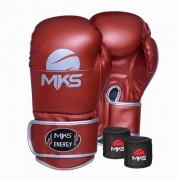 Kit Luva de Boxe MKS Energy V2 Metalic Red e Bandagem Preta 2,55m
