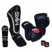 Kit Prospect Luva Boxe Preta e Caneleira Preta Mks Combat com Bandagem Preta 2,55m