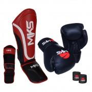 Kit Prospect Luva Boxe Preta e Caneleira Vermelha Mks Combat com Bandagem Preta 2,55m