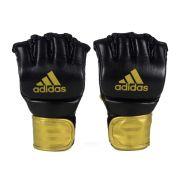 Luva de MMA adidas em couro legítimo - Preta/Dourada