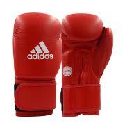 Luva adidas WAKO Approved Kick Boxing Competição Vermelha Couro