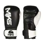 Luva de Boxe MKS Combat Rustic Black White Couro