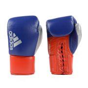 Luva de Boxe adidas Hybrid 400 Pro Lace Azul/Vermelha e Dedão Prateado