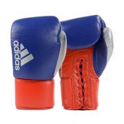 Luva de Boxe Muay Thai adidas Hybrid 400 Pro Lace Azul/Vermelha/com dedão Prateado