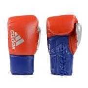 Luva de Boxe adidas Hybrid 400 Pro Lace Vermelha/Azul e Dedão Prateado