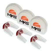 Pack 3 Protetores Bucais Duplo MKS Silicone Cristal com Estojo