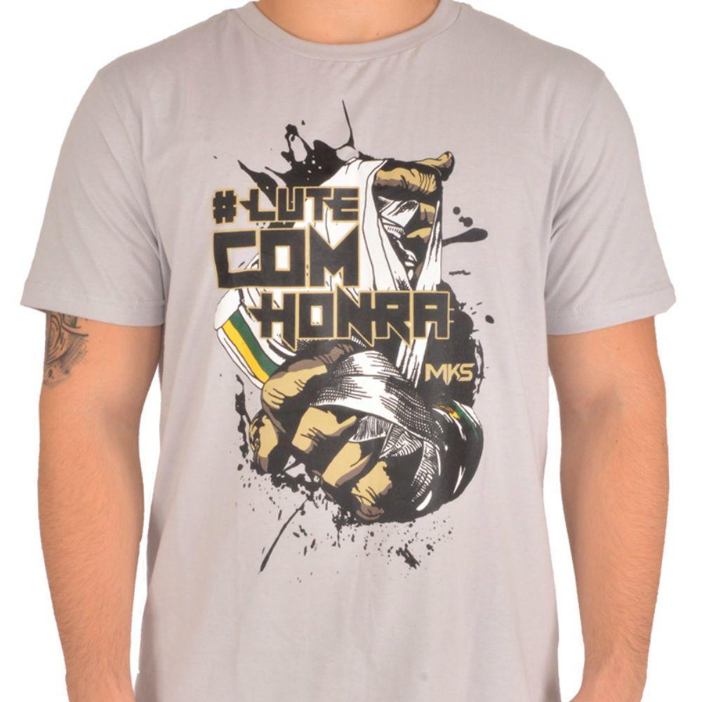 Camiseta MKS COMBAT #Lutecomhonra Cinza Gelo