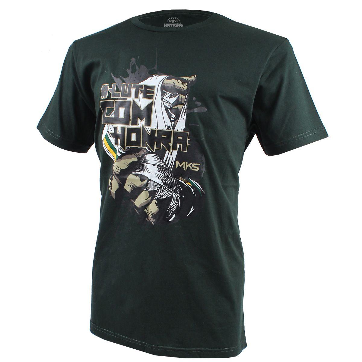 Camiseta MKS COMBAT #Lutecomhonra Cinza Preto