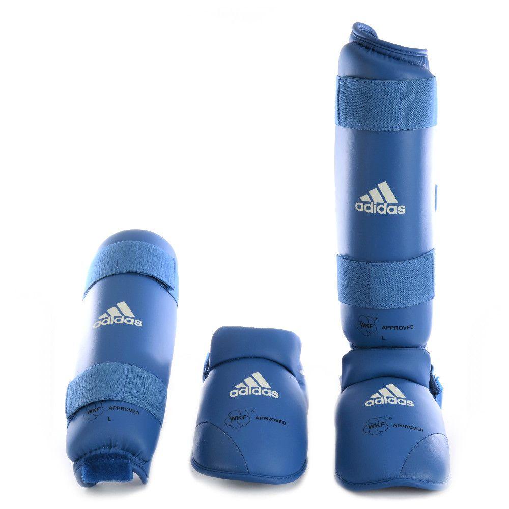 Caneleira Karatê com Protetor de Pé Azul adidas - Selo WKF