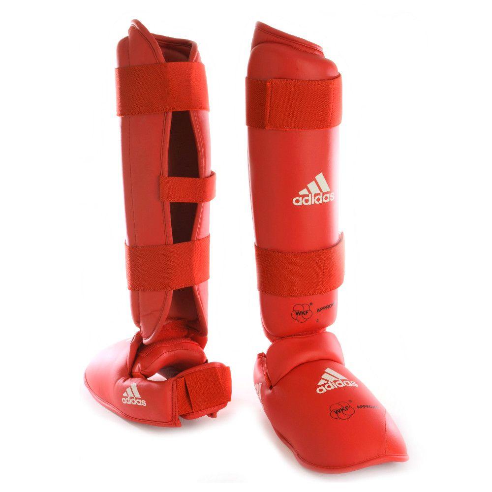 Caneleira Karatê com Protetor de Pé adidas Vermelha - Selo WKF