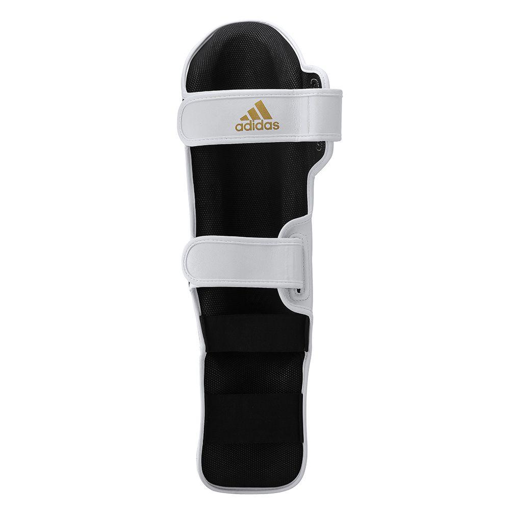 Caneleira com protetor de pé adidas Speed Super Pro Branco/Dourado