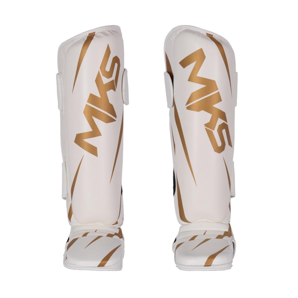 Caneleira de Muay Thai e Kickboxing MKS Champions V3 Branco/Dourado
