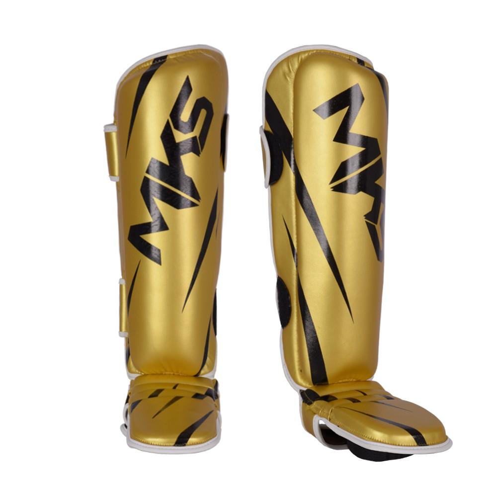 Caneleira de Muay Thai e Kickboxing MKS Champions V3 Dourado/Preto
