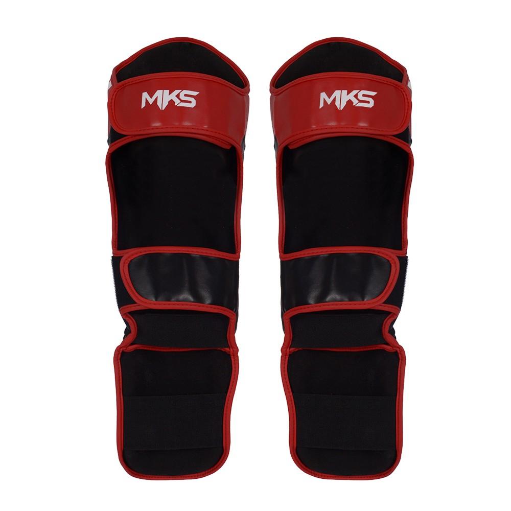 Caneleira de Muay Thai e Kickboxing MKS Prospect Preto/Vermelho