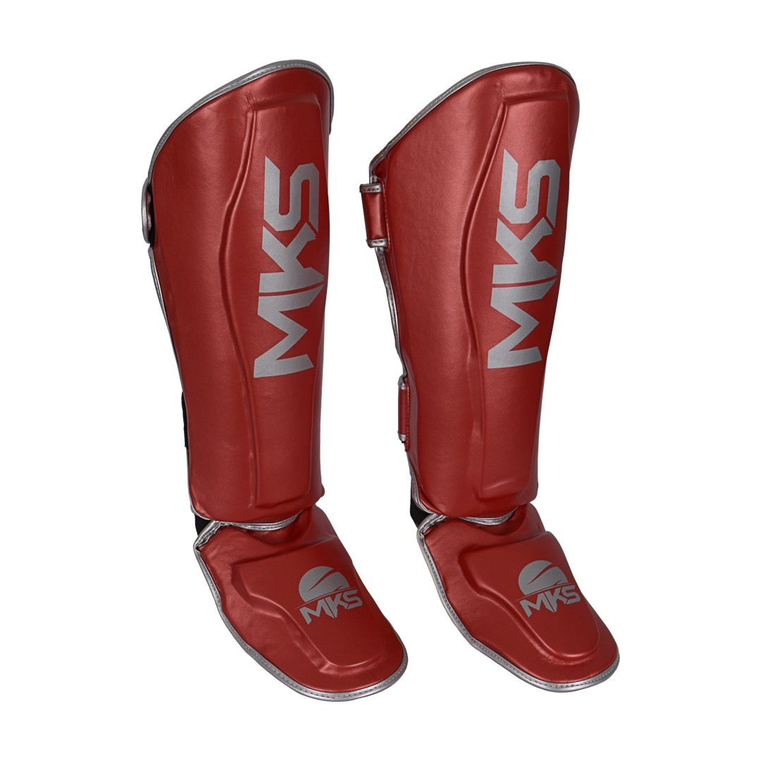 Caneleira de Muay Thai e Kickboxing MKS Energy V2 Metalic Red