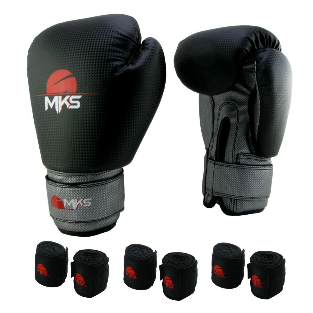 Luva de Boxe Prospect MKS Black & Silver 14 oz +  03 bandagem