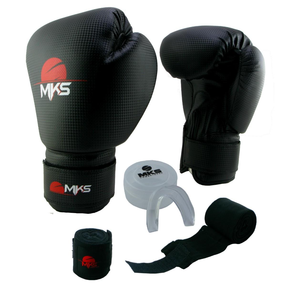 Luva de Boxe Prospect MKS Preta 14 oz + Protetor Bucal + Bandagem