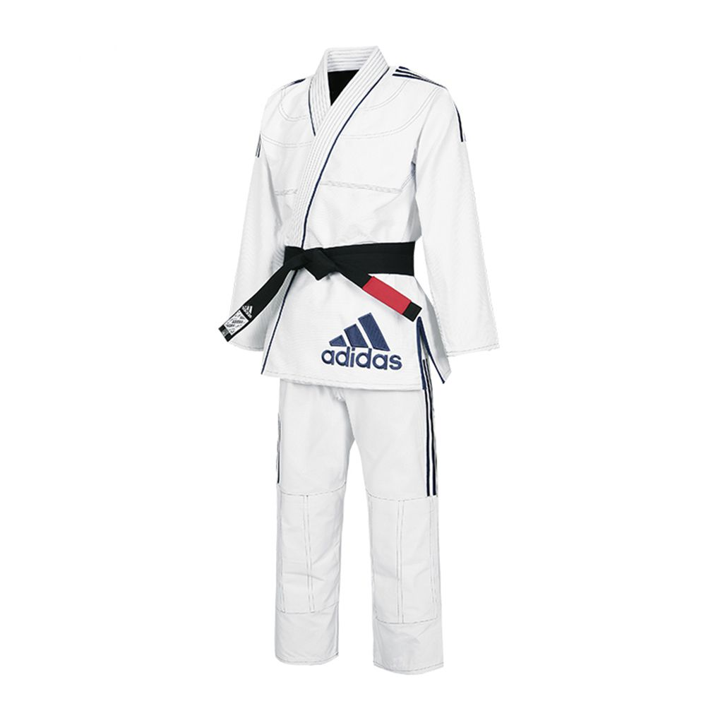 Kimono adidas Jiu Jitsu Contest JJ430 Branco com Listas Azul Escura 2.0